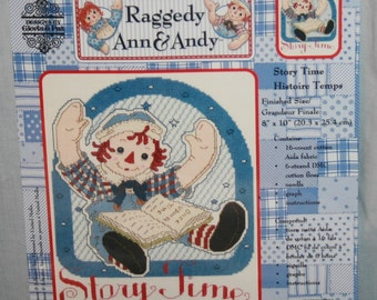 "Raggedy Ann & Andy Counted Cross Stitch Kit Story Time 8"" x 10"" New Sealed Storytime"