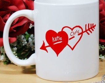 Personalized Two Hearts Valentine Coffee Mug