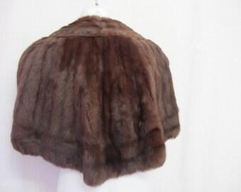 Mink Cape  Mink  Wrap Brown Mink Stole Mid Century Mink Fur Cape