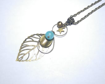 vintage bronze necklace watermark and Pearl blue