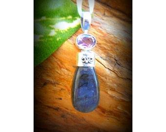 God Baldur INSPIRED .925 Silver & Labradorite/amethyst Pendant
