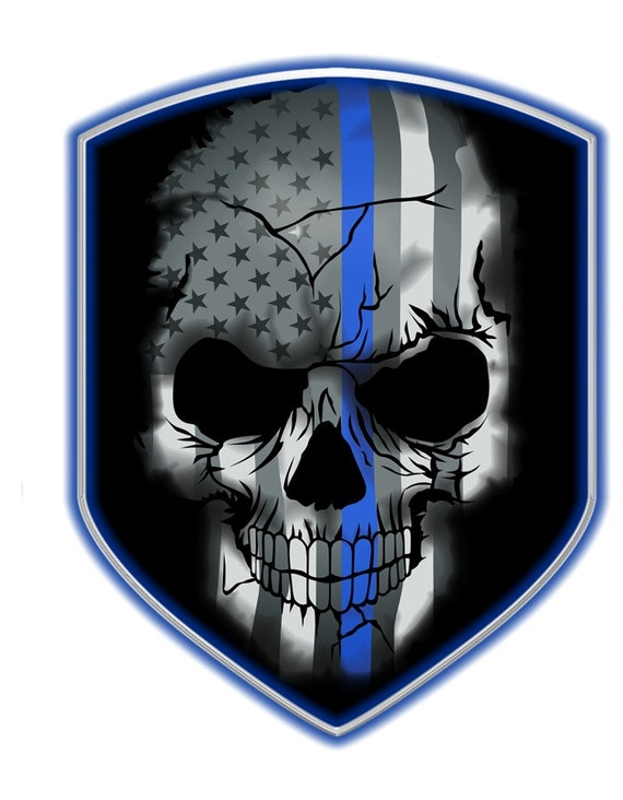 Thin Blue Line Skull Shield Decal SKU: D694-0003 by RescueTees