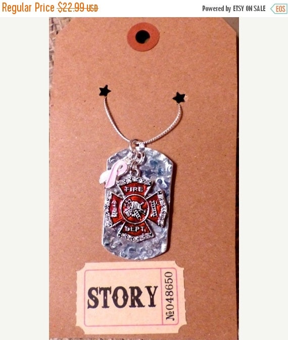 50% OFF SALE Fire Dept Shield Crystal Charm with by RescueTees