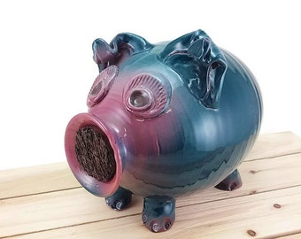 Very large piggy bank teal green with a pink face bank for kids pottery coin money boys, girls