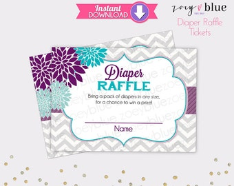 Floral Diaper Raffle Tickets Purple Teal Chevron Girl Baby Shower Games Printable Diaper Raffle Ticket DIY Printable File INSTANT DOWNLOAD