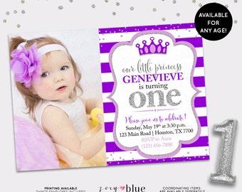 Purple Silver Princess Birthday Invitation -Glitter Little Princess Party Invitation First Birthday ONE Lilac Plum - Printable Digital File