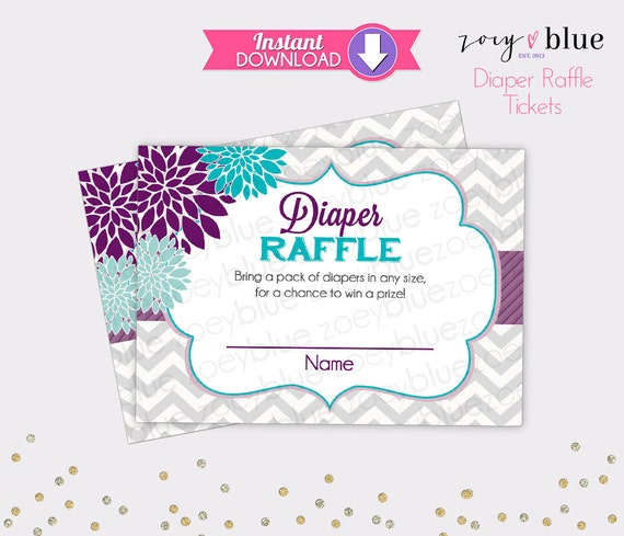 Floral diaper raffle tickets purple teal chevron girl baby shower il570xn pronofoot35fo Images