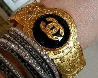 CHANEL Gripoix Cuff Bracelet - authentic chanel cuff bracelet