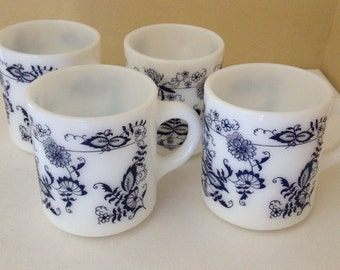 Vintage Set of (4) Glasbake White Milk Glass Blue Onion Coffee Mugs Cups- Made in USA