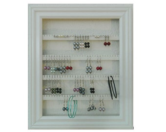 """Earring Holder - Holds 75 pair - Made with a 8""""x10"""" Picture Frame - Wall Mounted - Available in 4 Colors - White"""