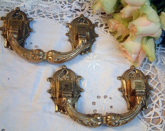 Pair of Antique French LARGE gilded bronze drawer pulls. Set of 2. Furniture oranment. Bronze hardware. Antique furniture hardware.