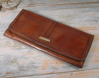 Vintage french / italian genuine leather clutch purse. Italian / french clutch bag. Unisex clutch