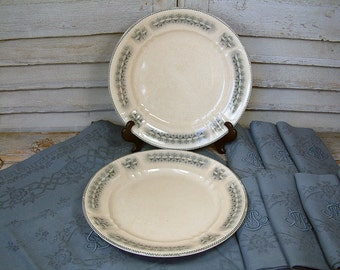 Set of 2 antique french ironstone grey transferware large serving plate Art Nouveau Art Deco. French grey and cream transferware