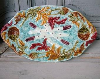 ANTIQUE majolica asparagus platter. Antique artichoke platter. Wasmuel Belgium. Early 1900s.