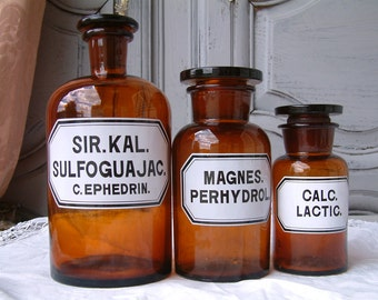 Set of 3 Antique French amber glass apothecary jar / pharmacy bottle collection. LARGE to small size. Enamel labels