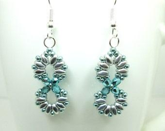 Aqua and silver beaded infinity earrings, infinity jewelry, super duo earrings ER038