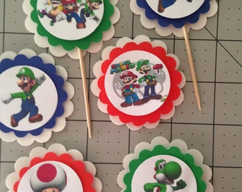 Mario Brothers Party Cupcake Toppers 12 PERSONALIZED Birthday Custom baby shower