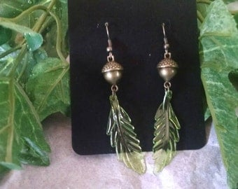 Brass Acorn Earrings - Clear Green