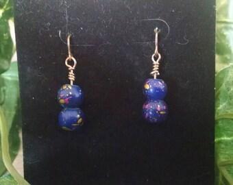 Blue Paint Splatter Earrings