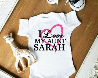 I Love My Aunt CUSTOMIZE NAME and Heart Color Baby Neutral Bodysuit by Simply Chic Baby Boutique