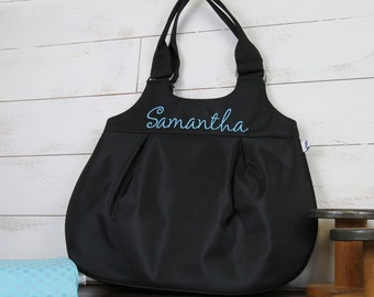 Personalized Microfiber Shoulder Tote Bag - Name Monogram