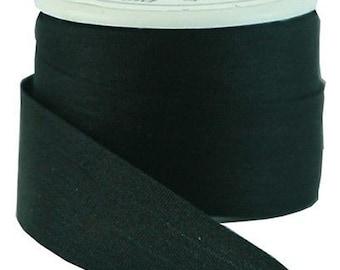 6 Yds (5 M) Embroidery Silk Ribbon 100% Silk 13mm - Black -By Threadart