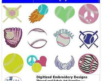 Embroidery Design CD - Softball(2) - 12 Designs - 9 Formats - Threadart