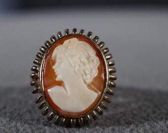 Vintage Sterling Silver Large Oval Fancy Carved Female Figural Cameo Fancy Band Ring, Size 7     **RL