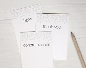 SALE Small note cards set of 9 mixed notecards hello thank you congratulations