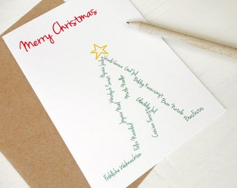 Christmas card Merry christmas in many languages xmas tree green red greeting card