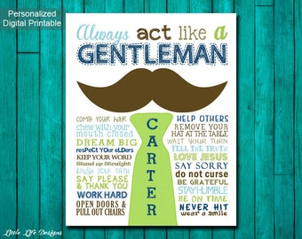 Little Boys Wall Art. Always act like a Gentleman. Childrens Wall Art. Little Man Rules. Gift for Boys. Rules for Gentleman. Boys Room Decor