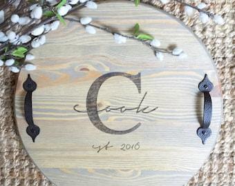 "Custom 15"" Round; Wooden Tray; Monogrammed Gift; Wedding Gift; Serving Tray; Tray; Rustic Tray; Rustic Wedding; Wooden Tray; Wood Tray"