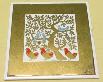 Mid Century Berggren Christmas Tile Trivet - 3rd Day Of Christmas 6 x 6 Swedish Wall Hanging - Free Shipping