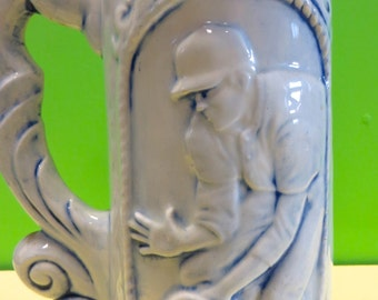 1920's Flow Blue Baseball Theme Beer Tankard Mug Stein - Awesome Detail - Free Shipping