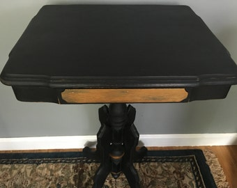 Vintage chalk painted black accent table