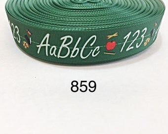 "3 or 5 yard - 7/8"" School ABC 123 on Green Grosgrain Ribbon Hair bow"