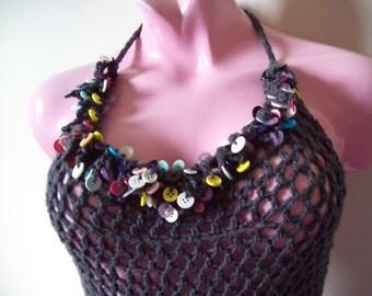 Button Fringe Romper | Crochet Romper | Cover-up