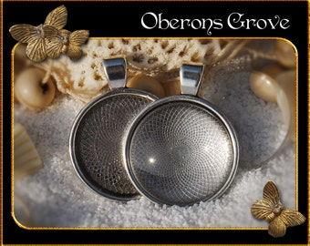 10 settings silver with 10 cabochons 25mm