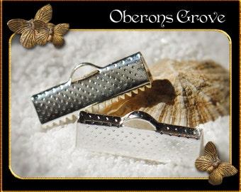 20 end caps crimp light silver 20x8mm