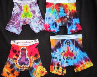 Tie Dye Men's Boxer Briefs, size Small. 2nd photo is the backside.
