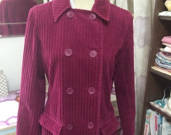 vintage laura ashley soft cotton corduroy raspberry trench coat uk 12 eur 38 usa 8