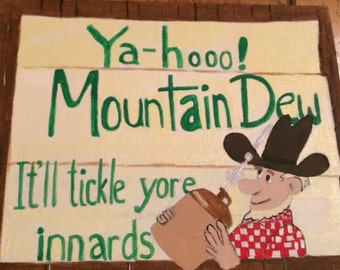painting of vintage mountain dew sign