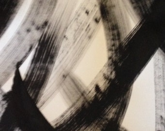 Black and White Abstract on Paper Brushstrokes 2