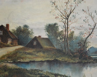 Antique Oil Painting, Cottage Painting, French Village Painting, English Village Painting, Pond Painting
