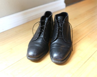 vintage black leather oxfords ankle boots lace up womens 6