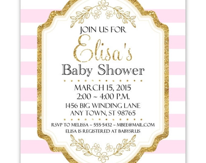 Baby Shower Invitation, Pink Stripes and Gold Baby Shower Invite, DIY Invitations, Customized for you - 4x6 or 5x7 size - YOU print