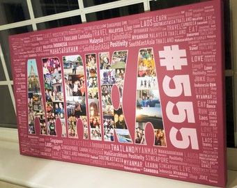 Personalised Photo Collage Word Art Canvas Creative Unique Design Gift Pictures Words Text -  Something Different - 18x30 inches
