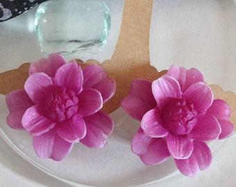 Vintage flowers, earrings, pink, 50s