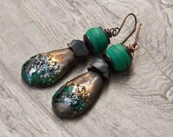 WAS 34.00 NOW 26.00Rustic artisan earrings- Lush Meadow- ceramic lampwork green earrings- Scorched Earth- Garden of Beads- WinterBirdStudio