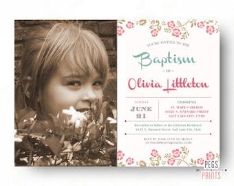 LDS Baptism Invitation Girl (Printable) LDS Baptism Invite // Baptism Invitation LDS // Floral Rose Pink Gray // Christening Invitation Girl